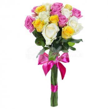 Букет из 17 Эквадорских разноцветных роз