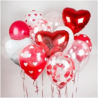 Фонтан из шаров «Сердца»
