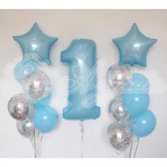 Композиция из шаров на 1 год. «Нежно голубая»